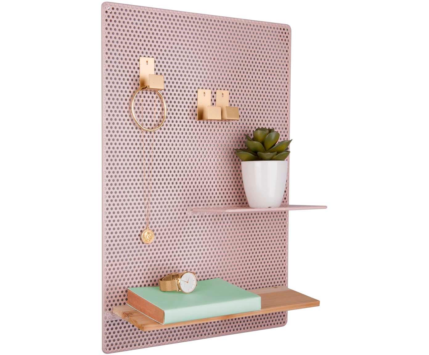Pinnwand Perkys, Metall, lackiert, Rosa, Messingfarben, 35 x 53 cm