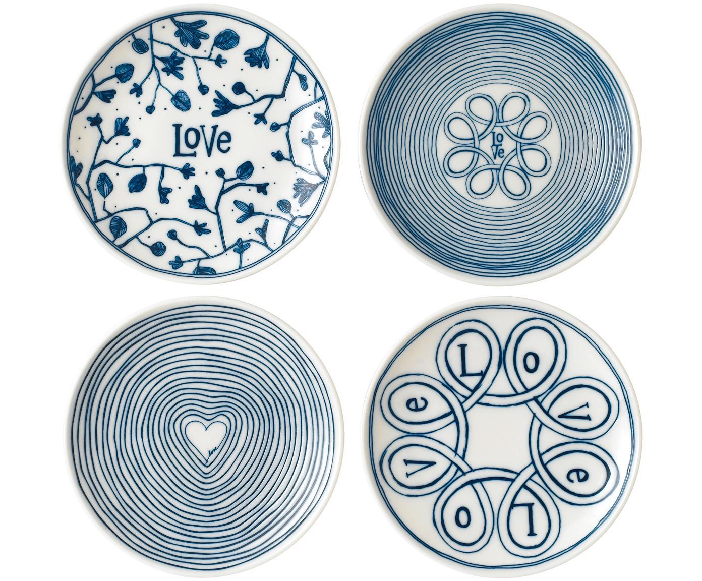 Set 4 piatti per pane bianco/blu Love, Porcellana, Avorio, blu cobalto, Ø 16 cm