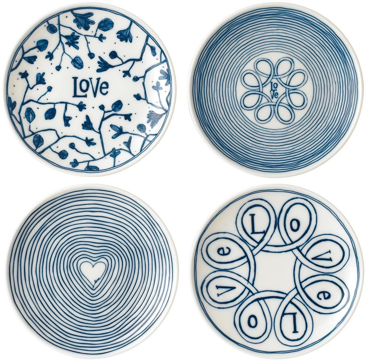 Gemusterte Brotteller Love in Weiß/Blau, 4er-Set, Porzellan, Elfenbein, Kobaltblau, Ø 16 cm