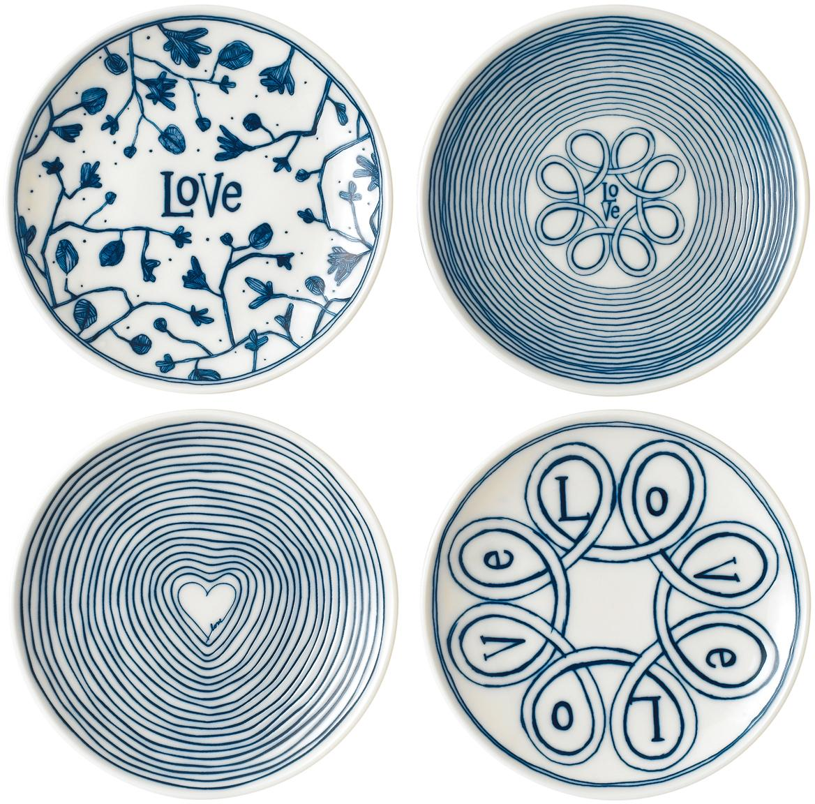 Ontbijtbordenset Love in wit/blauw met patroon, 4-delig, Porselein, Ivoorkleurig, kobaltblauw, Ø 16 cm