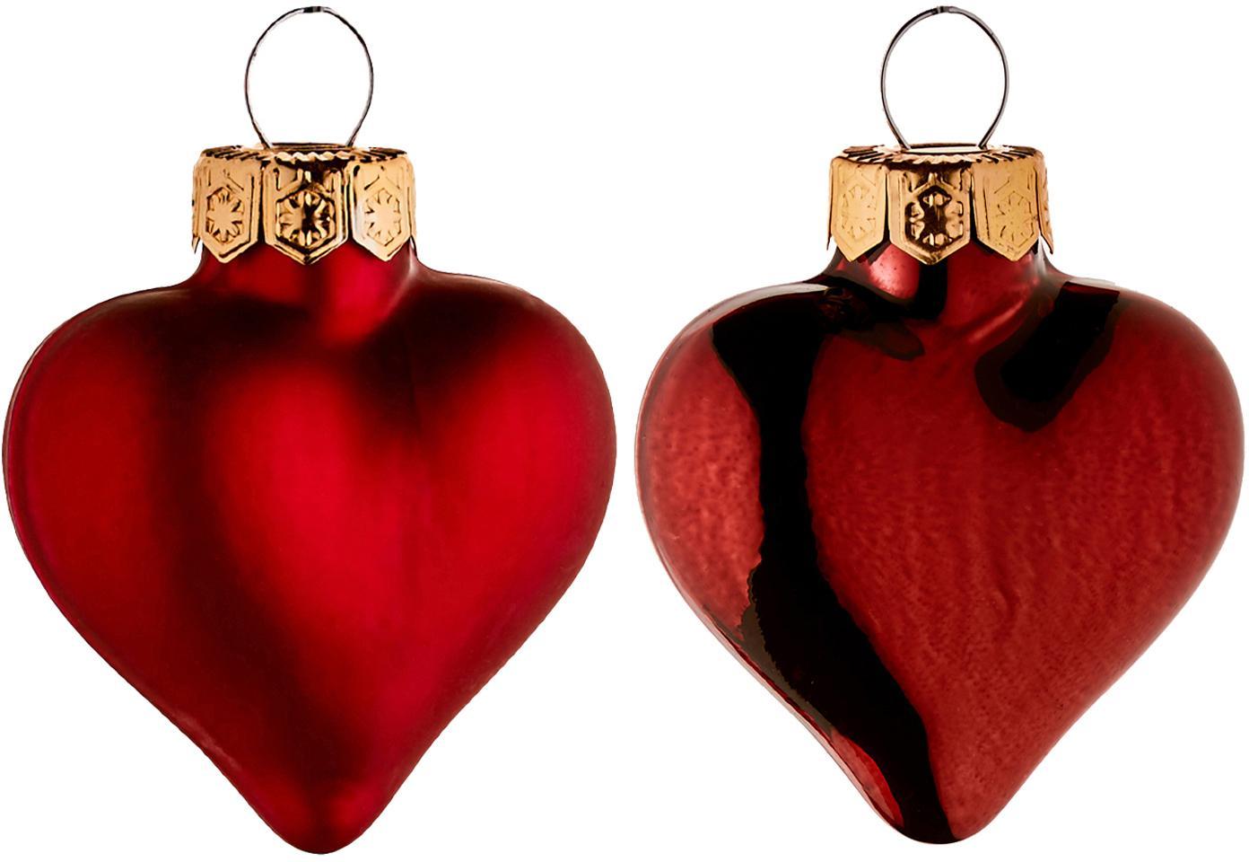 Set de corazones decorativos Alabaster, 12pzas., Rojo, Ancho 4 x Alto 5 cm