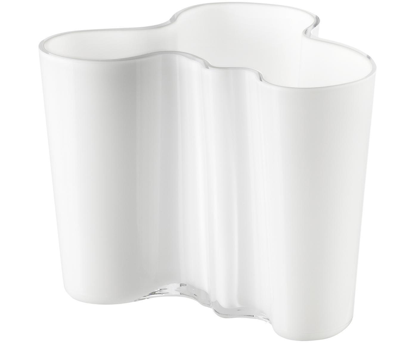 Kleine Design-Vase Alvar Aalto, Glas, Weiß, H 12 cm