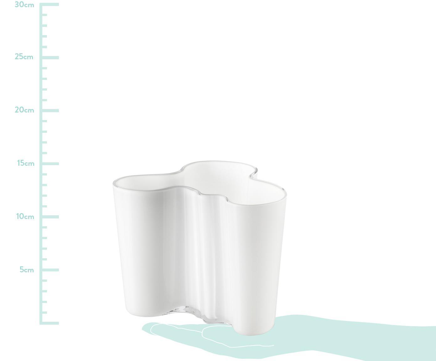 Kleine design vaas Alvar Aalto, Glas, Wit, H 12 cm
