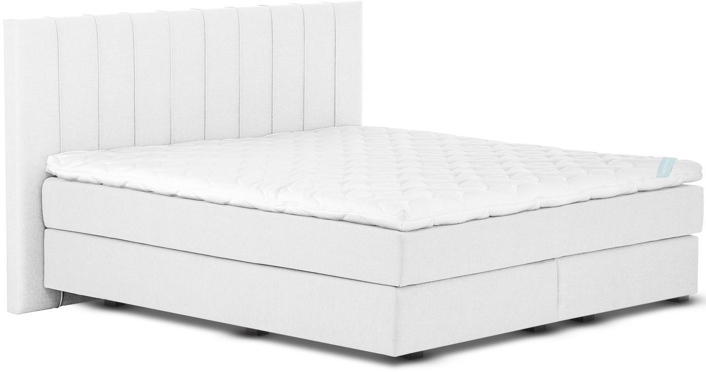 Premium Boxspringbett Lacey, Matratze: 7-Zonen-Taschenfederkern , Füße: Massives Buchenholz, lack, Helles Weiß-Grau, 200 x 200 cm
