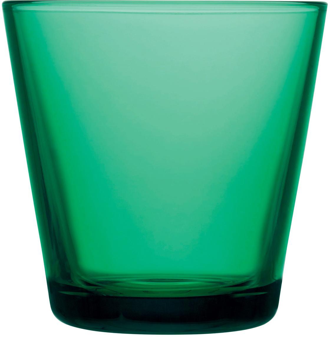 Waterglazen Kartio, 2 stuks, Glas, Smaragdgroen, Ø 8 x H 8 cm