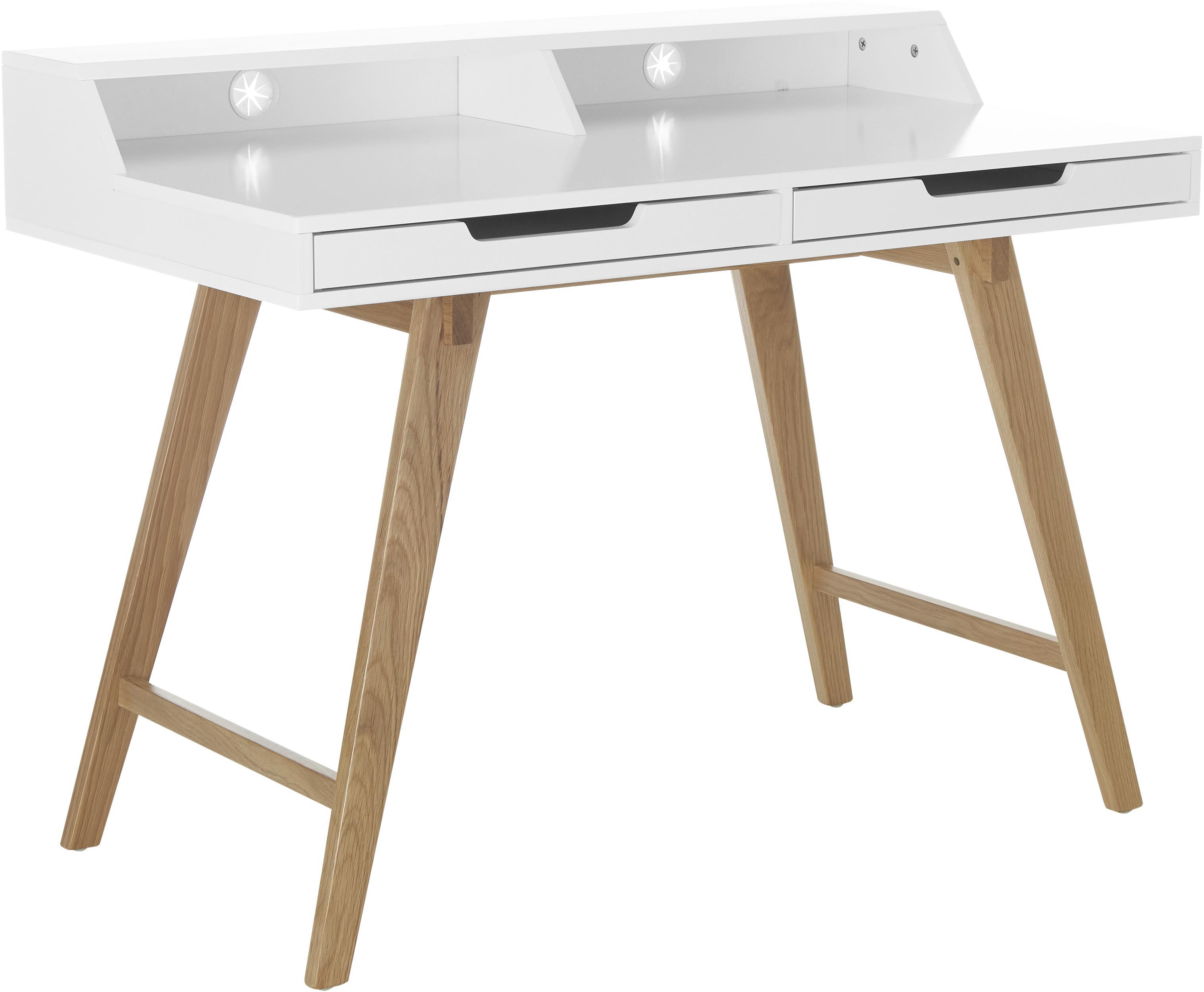 Escritorio de madera Skandi, Estructura: tablero de fibras de dens, Patas: madera de roble macizo, Blanco, roble, An 110 x Al 85 cm