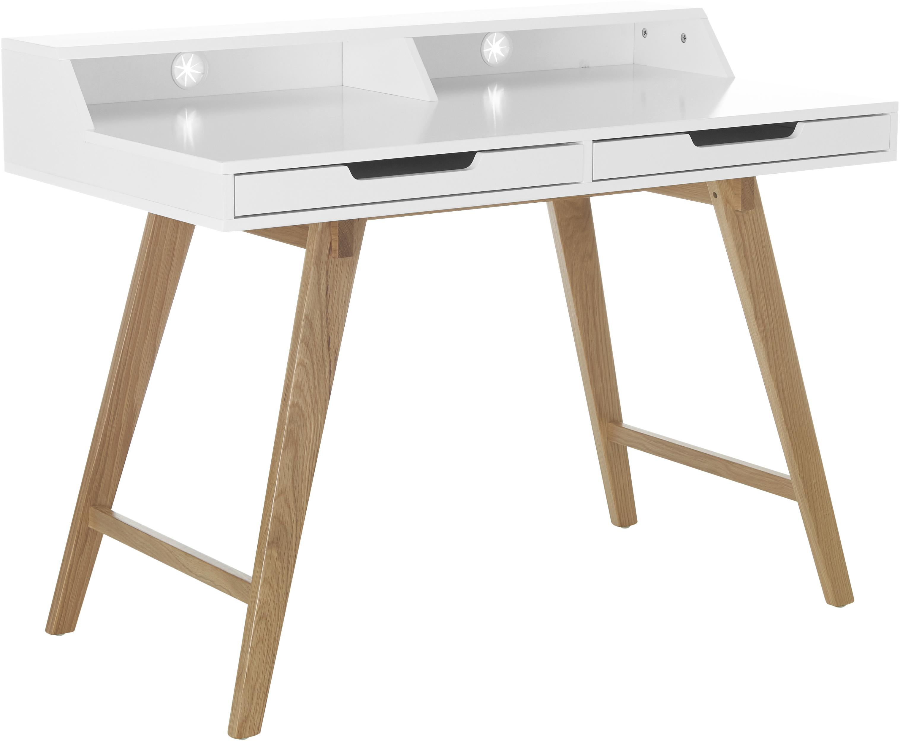 Schreibtisch Skandi in Weiß mit Holzbeinen, Korpus: Mitteldichte Holzfaserpla, Beine: Eichenholz, massiv, Weiß, Eichenholz, 110 x 85 cm