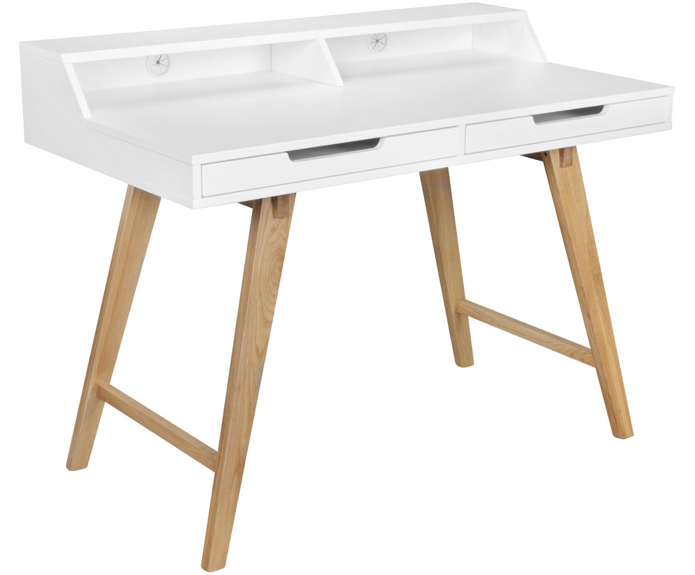 Biurko z drewnianymi nogami Skandi, Korpus: płyta pilśniowa średniej , Nogi: drewno dębowe, lite, Biały, drewno dębowe, S 110 x W 85 cm