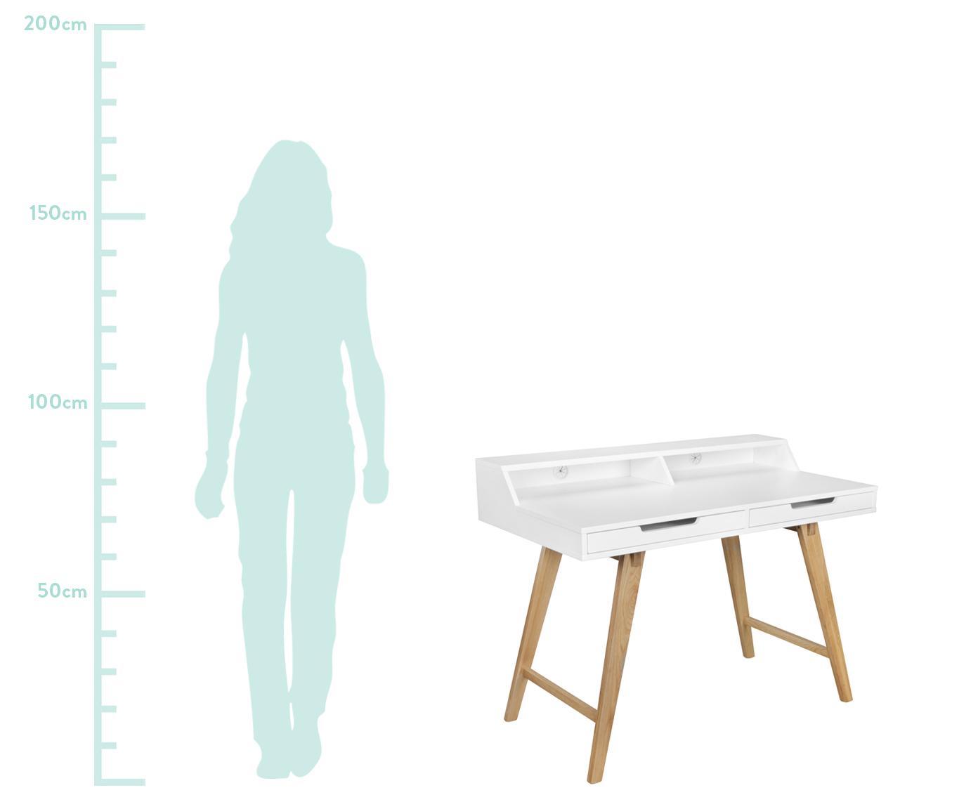 Bureau Skandi in wit met houten poten, Frame: MDF, Poten: massief eikenhout, Wit, eikenhoutkleurig, 110 x 85 cm