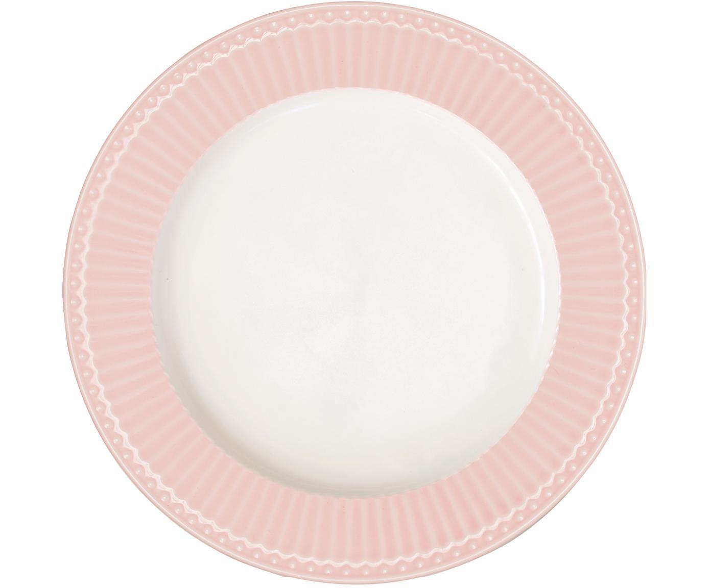 Handgefertigte Speiseteller Alice in Rosa mit Reliefdesign, 2 Stück, Steingut, Rosa, Weiß, Ø 27 cm