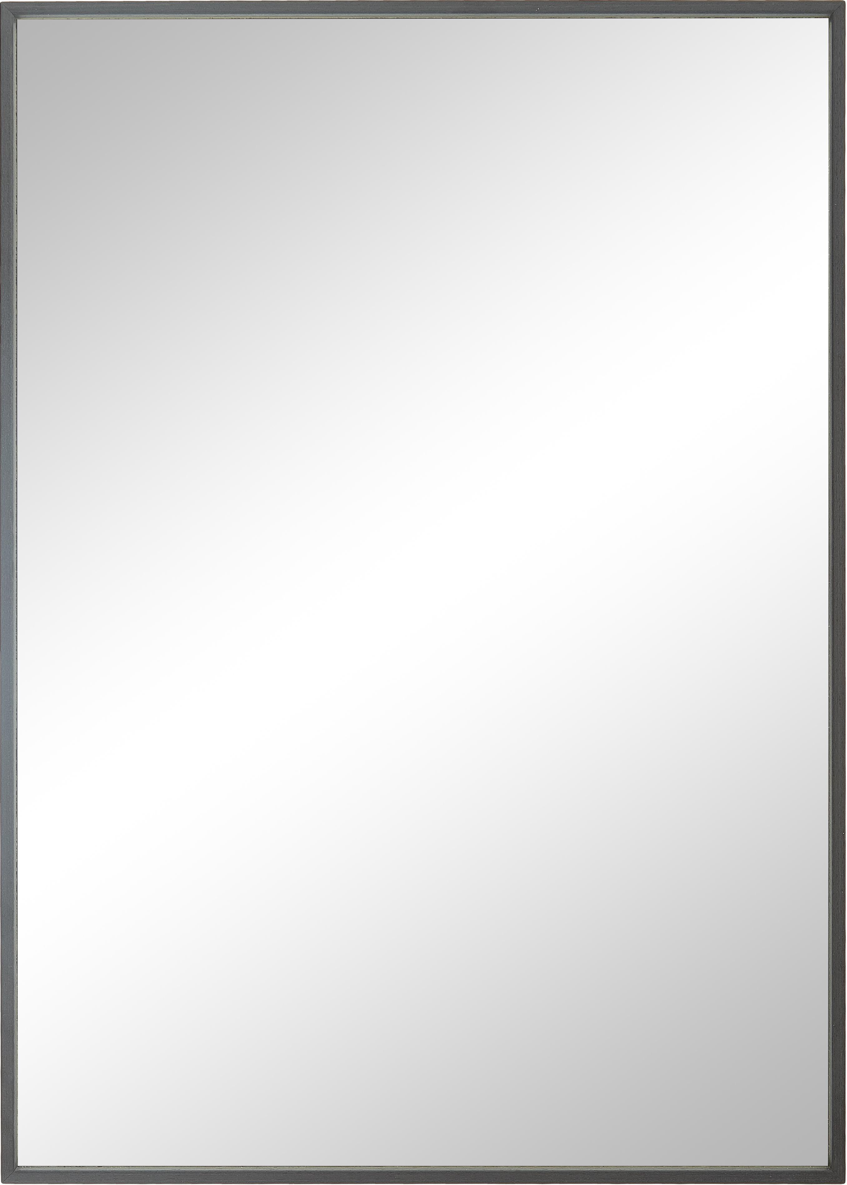 Rechthoekige wandspiegel Alpha met grijze lijst, Lijst: gecoat aluminium, Grijs, 50 x 70 cm
