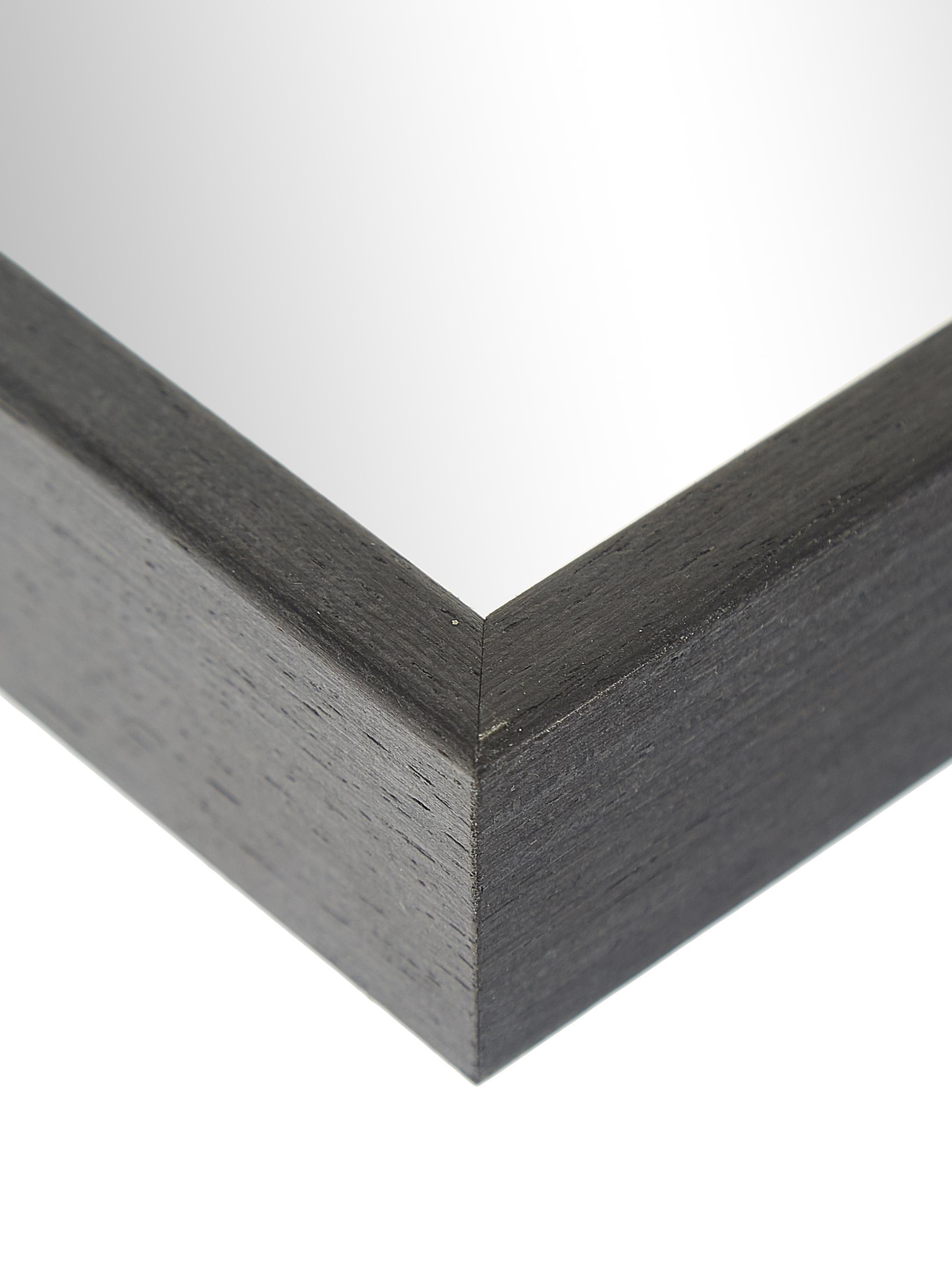 Eckiger Wandspiegel Alpha mit grauem Rahmen, Rahmen: Aluminium, beschichtet, Spiegelfläche: Spiegelglas, Grau, 50 x 70 cm