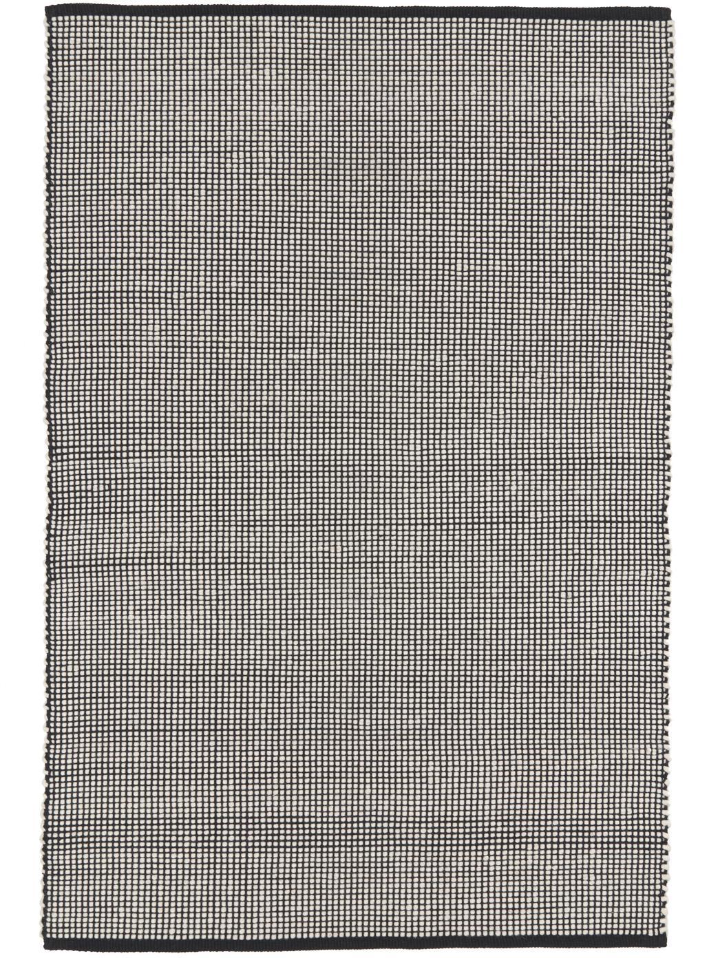 Handgewebter Wollteppich Amaro in Schwarz/Creme, 38% Wolle, 22% Polyester, 20% Baumwolle, 20% Polyamid, Schwarz, Cremeweiss, B 120 x L 180 cm (Grösse S)