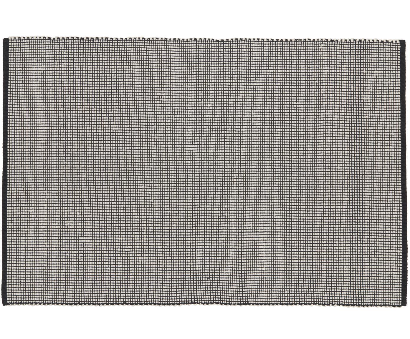 Handgewebter Wollteppich Amaro in Schwarz/Creme, 38% Wolle, 22% Polyester, 20% Baumwolle, 20% Polyamid, Schwarz, Cremeweiß, B 120 x L 180 cm (Größe S)