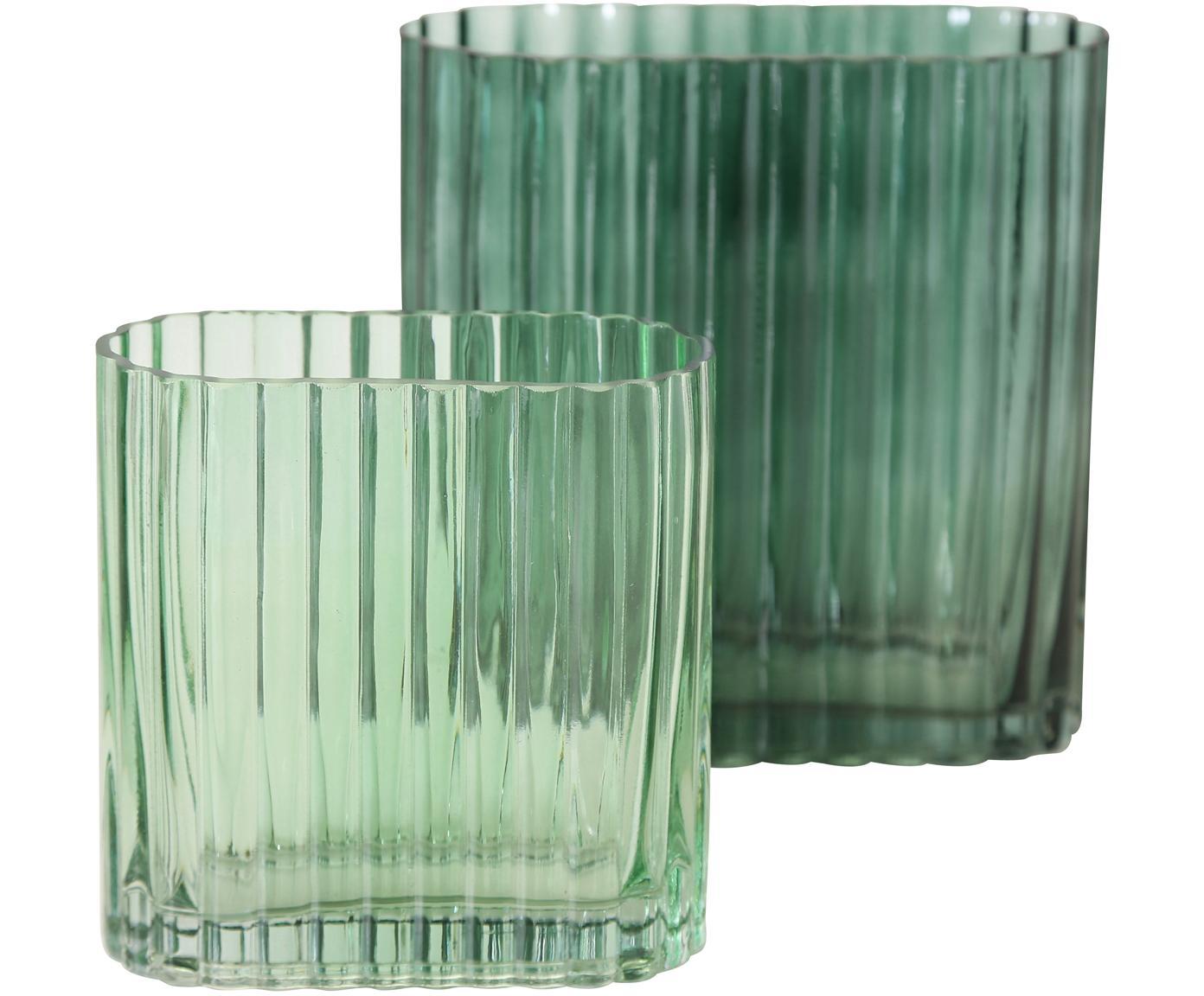 Set de jarrones de vidrio Tulipa, 2pzas., Vidrio, Verde, Tamaños diferentes