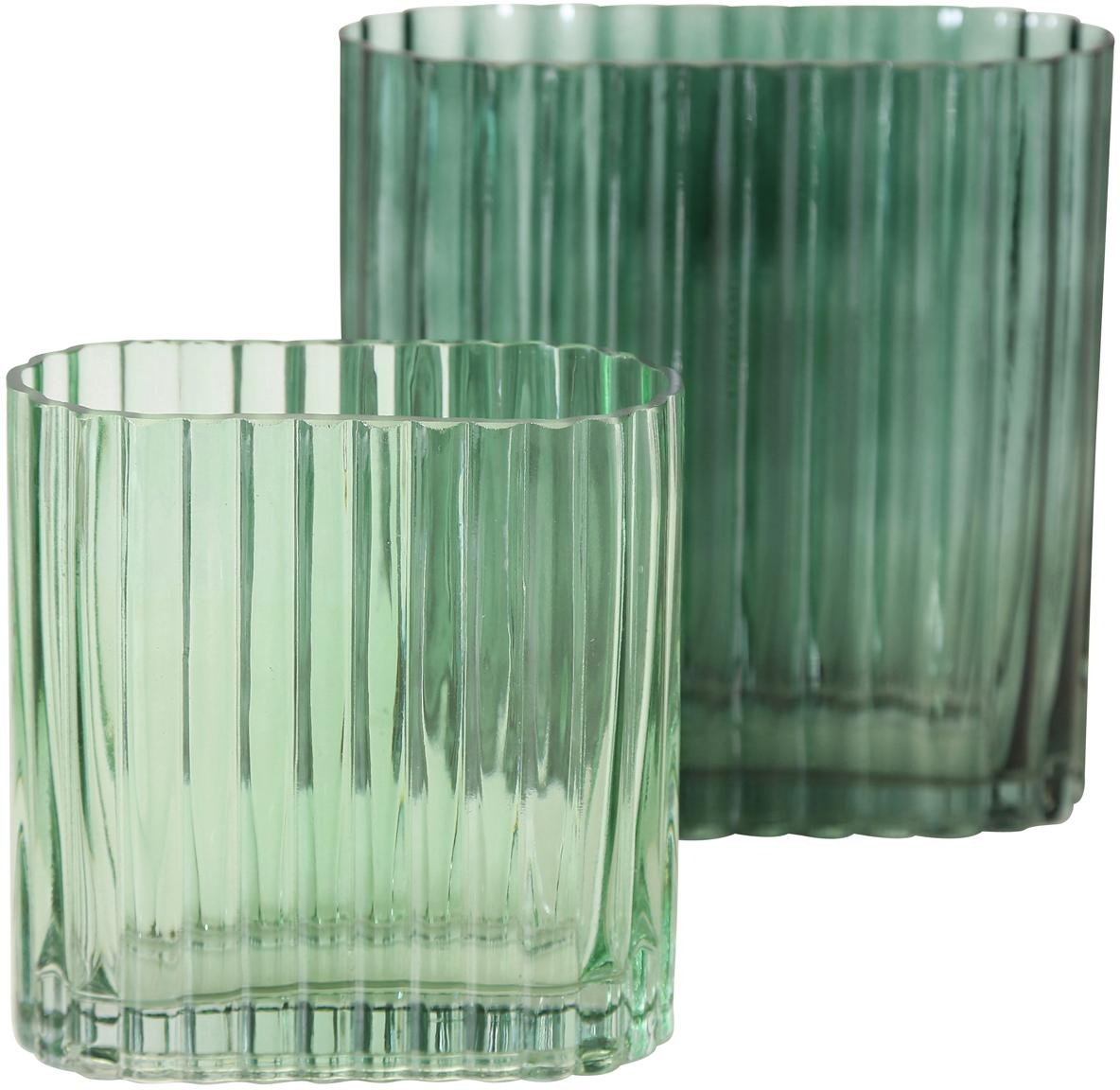Set 2 vasi in vetro verde Tulipa, Vetro, Verde, Set in varie misure