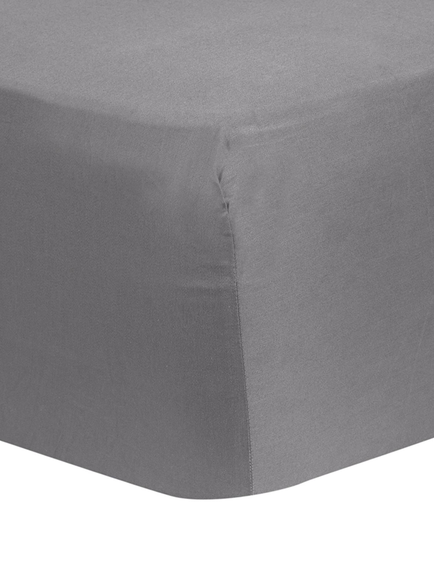 Lenzuolo con angoli in raso di cotone Comfort, Grigio scuro, Larg. 90 x Lung. 200 cm