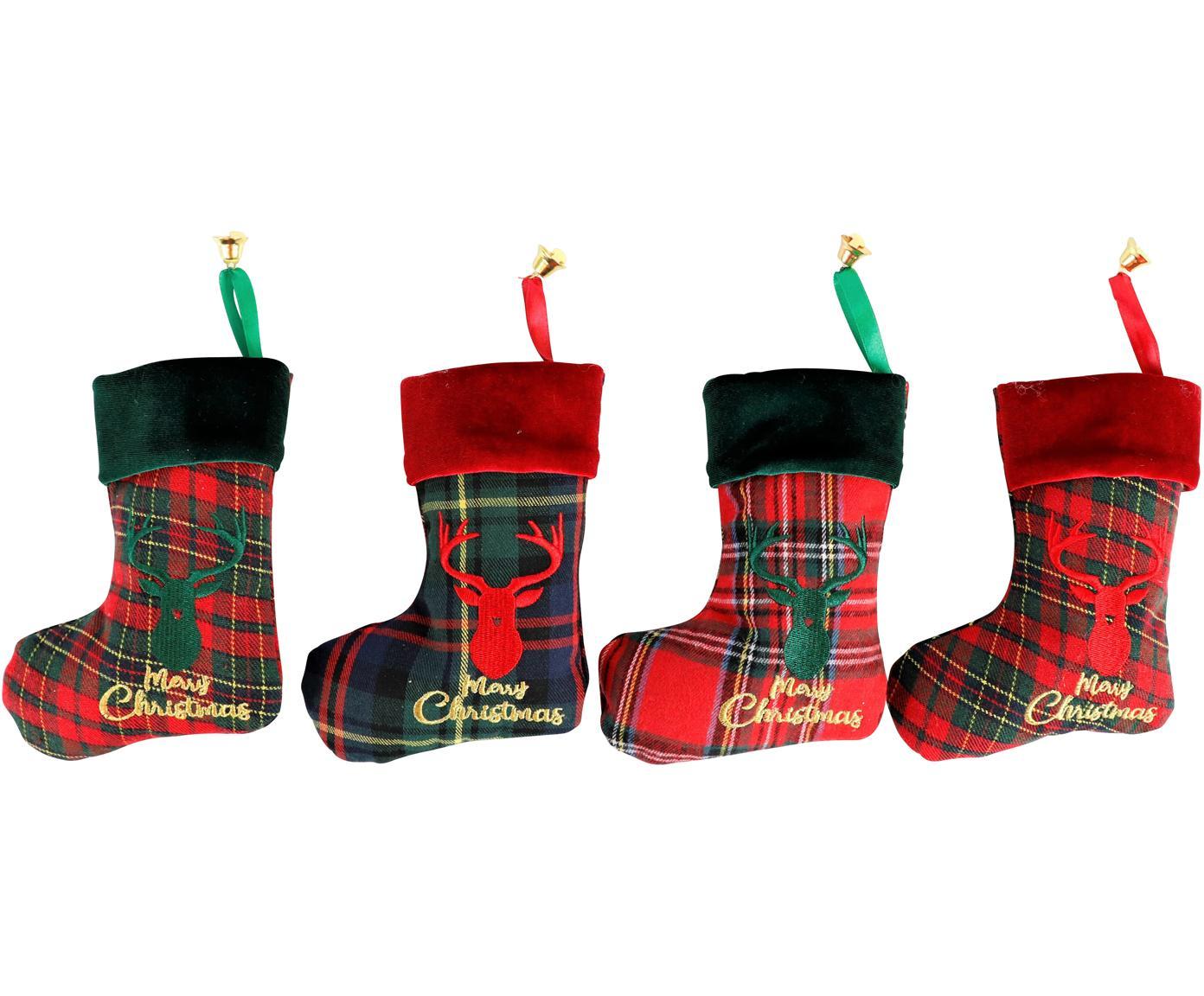 Set de calcetines decorativas Merry Christmas, 4pzas., Poliéster, algodón, Verde, rojo, negro, An 14 x L 17 cm