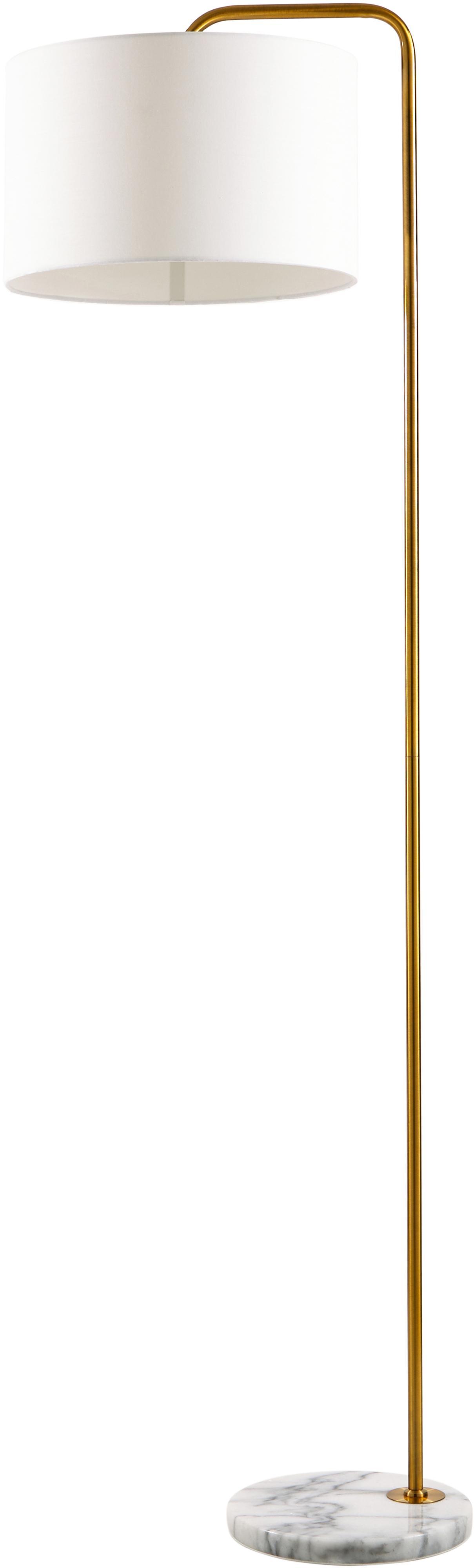Vloerlamp Montreal met marmeren voet, Lampenkap: textiel, Lampvoet: marmer, Frame: gegalvaniseerd metaal, Wit, goudkleurig, Ø 35 x H 155 cm