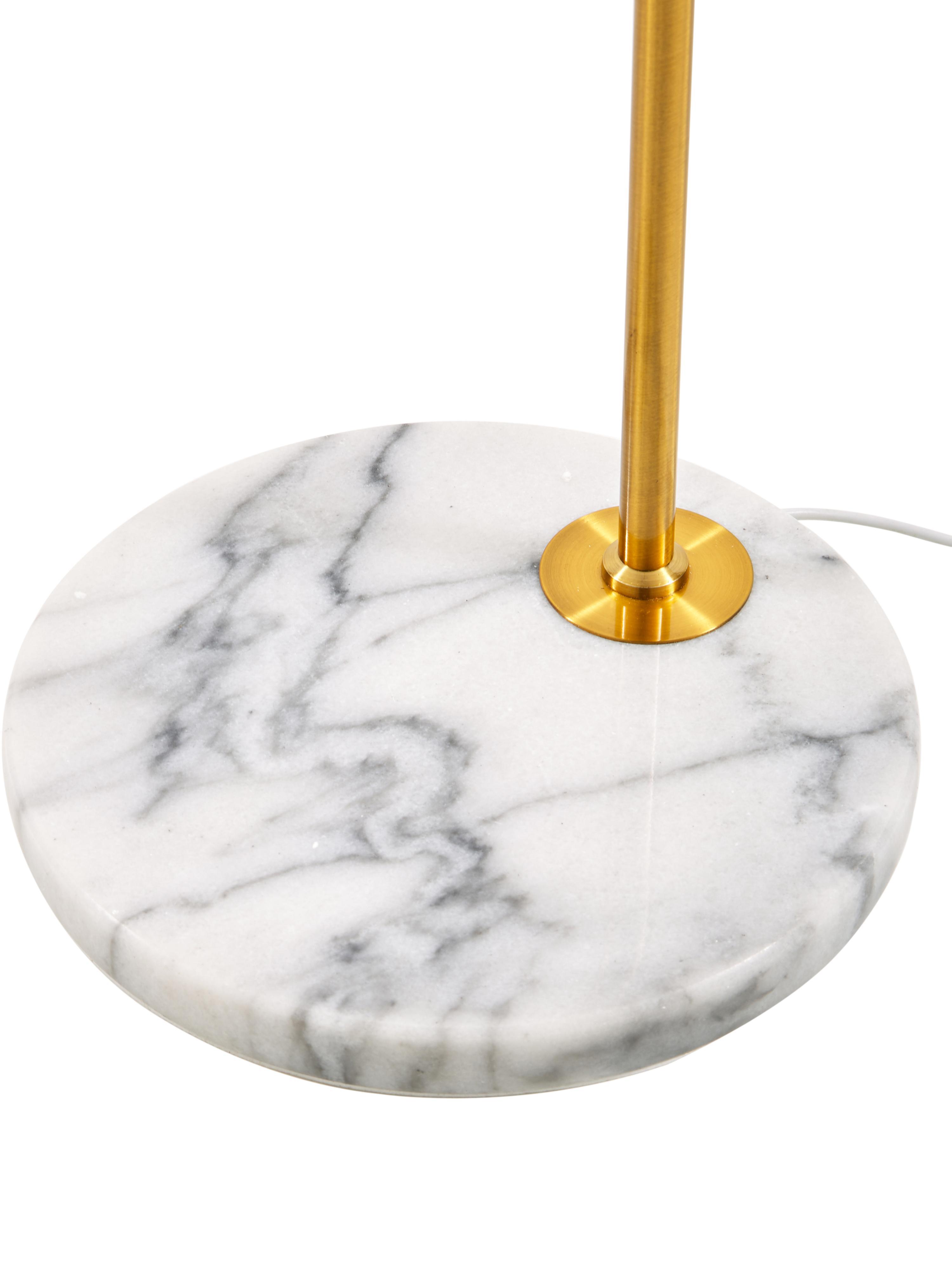 Stehlampe Montreal mit Marmorfuss, Lampenschirm: Textil, Gestell: Metall, galvanisiert, Weiss, Goldfarben, Ø 35 x H 155 cm