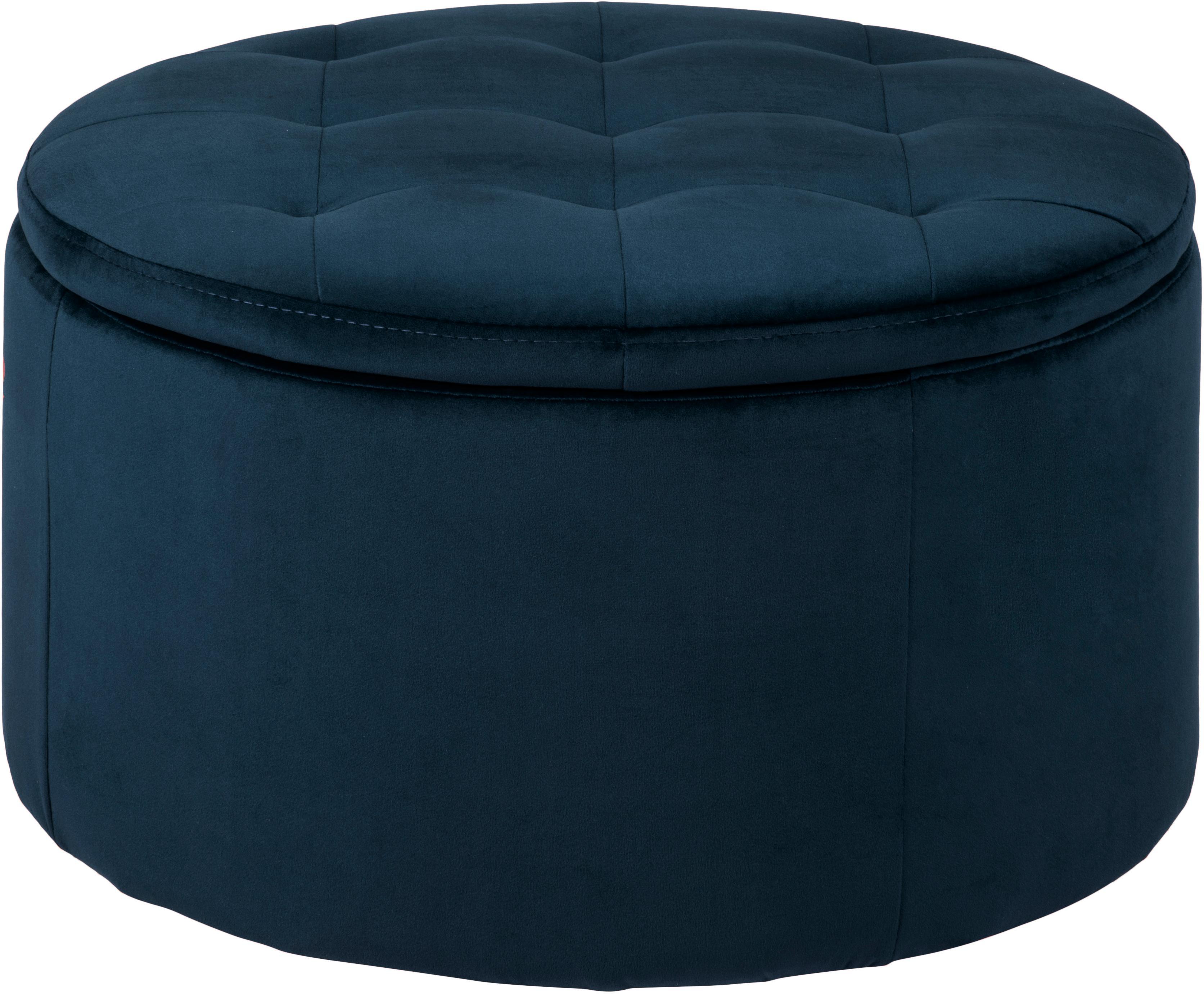 Samt-Hocker Retina mit Stauraum, Bezug: Polyestersamt 25.000 Sche, Gestell: Mitteldichte Holzfaserpla, Blau, Ø 60 x H 35 cm