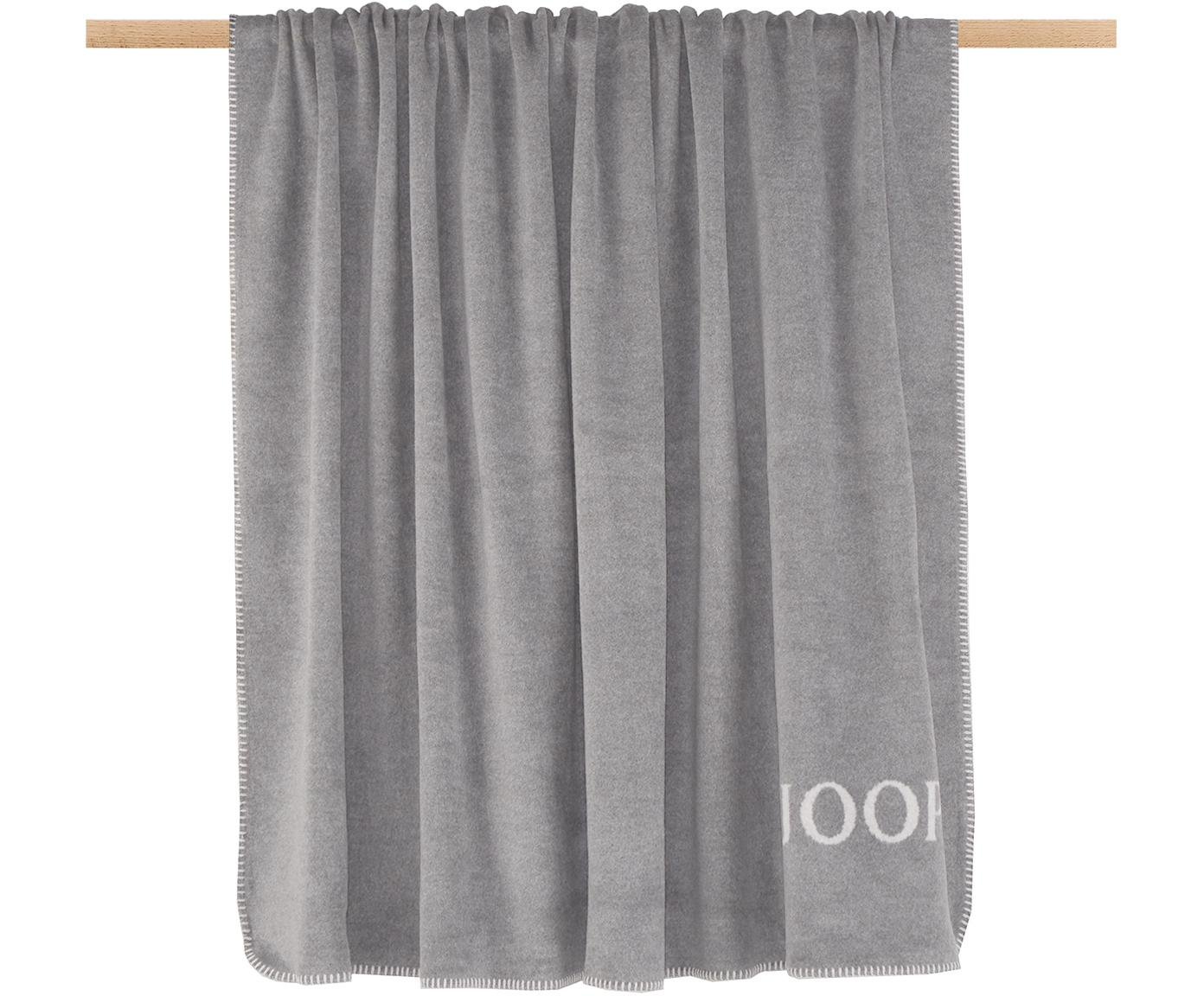 Fleece-Wendeplaid Uni Doubleface in Grau und Weiß, 58%Baumwolle, 35%Polyacryl, 7%Polyester, Grau, Weiß, 150 x 200 cm