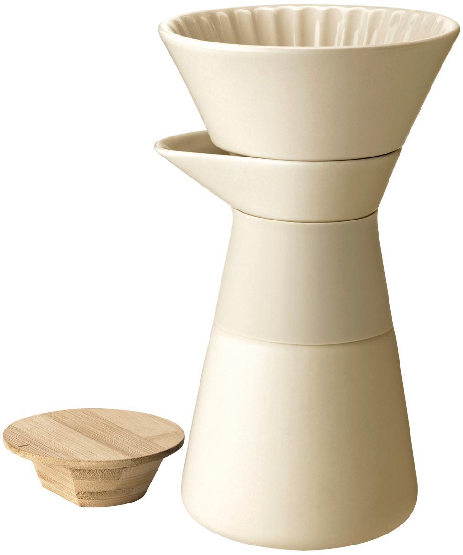 Cafetière Theo, Deksel: bamboehout, Crèmekleurig, 500 ml