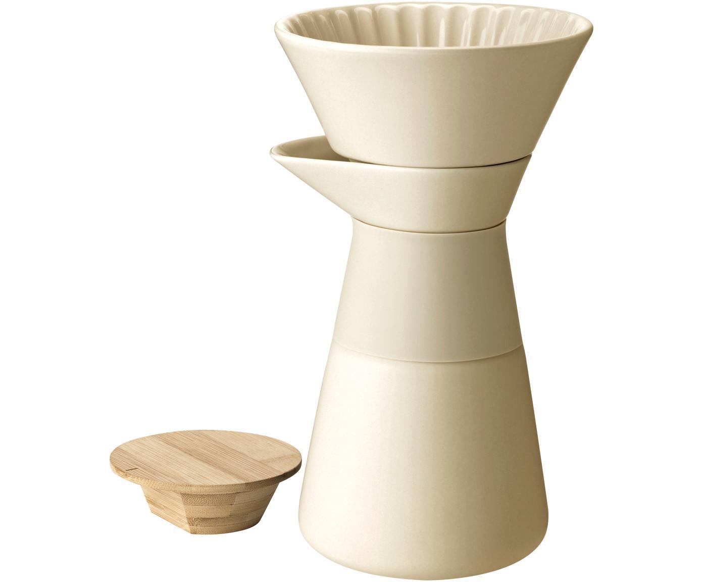 Caffettiera in crema opaco Theo, Coperchio: legno di bambù, Manico: termoisolante silicone, Crema, 500 ml
