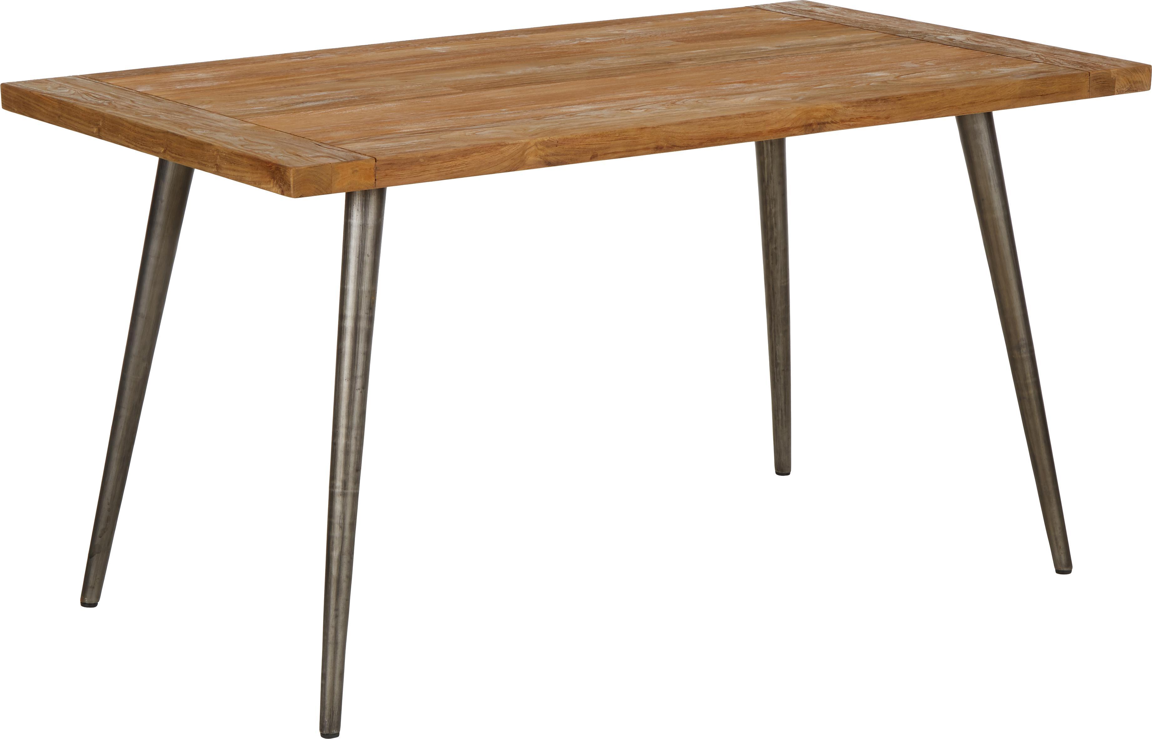 Eettafel Kapal met massief houten tafelblad, Tafelblad: 4 cm sterk, gerecycled ma, Poten: staal met metalen gebruik, Teakhoutkleurig, zwart, B 140 x D 80 cm