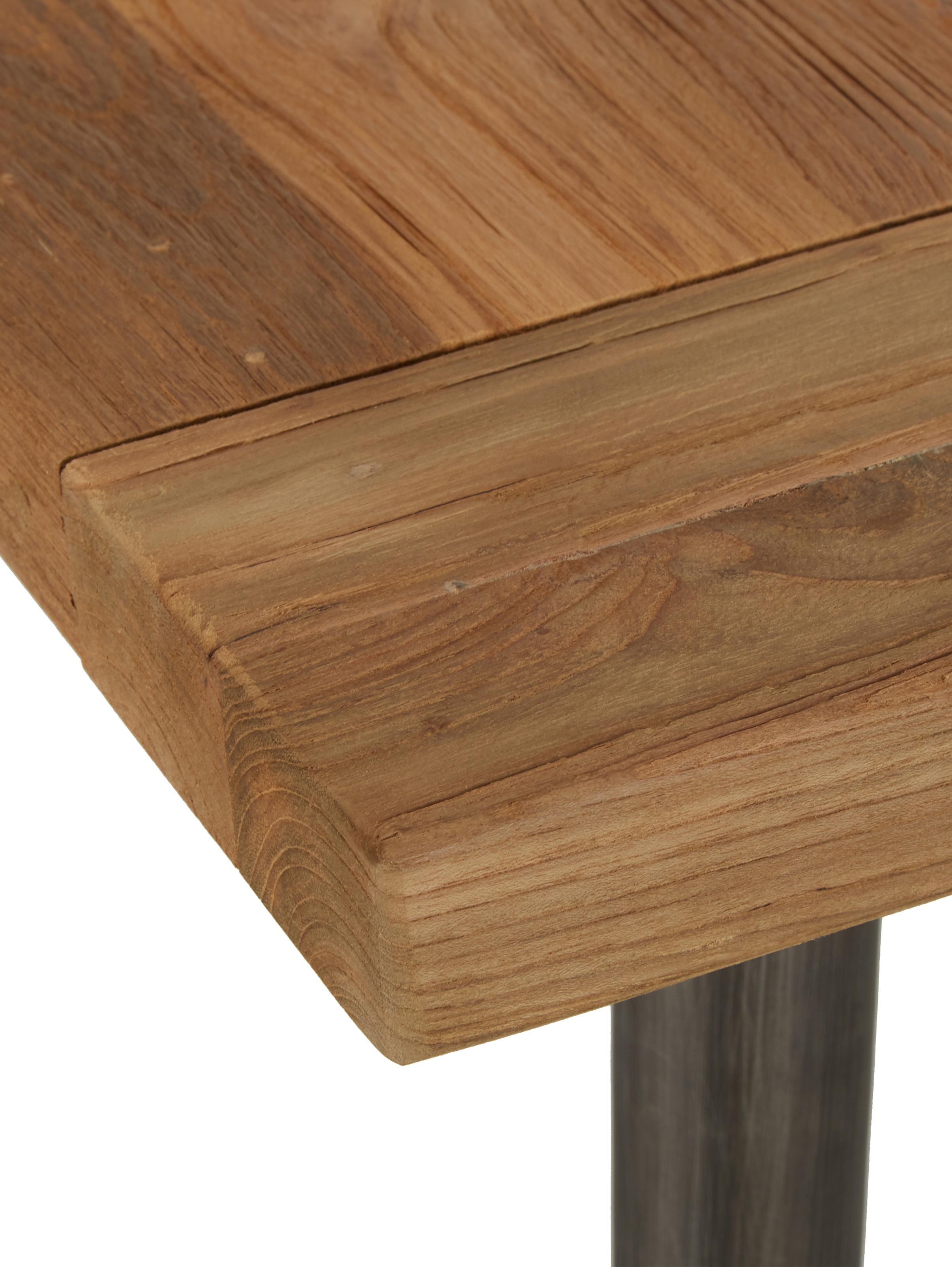 Stół do jadalni z blatem z litego drewna Kapal, Blat: lite drewno tekowe pochod, Nogi: stal z celowymi śladami u, Drewno tekowe, czarny, S 200 x G 90 cm