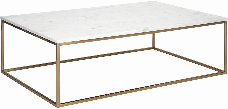 Tavolino da salotto con piano in marmo Alys, Piano d'appoggio: pietra naturale di marmo, Struttura: metallo rivestito, Marmo bianco, dorato, Larg. 120 x Prof. 75 cm