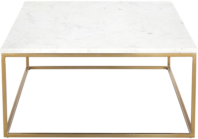 Mesa de centro de mármol Alys, Tablero: mármol, Estructura: metal recubierto, Mármol blanco, dorado, An 120 x F 75 cm