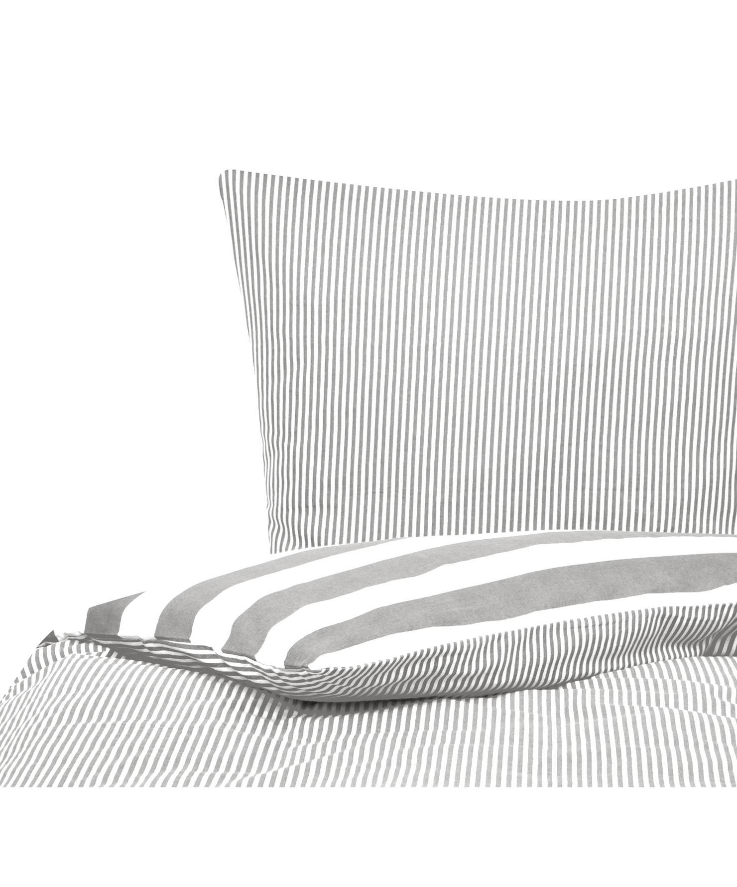 Flanell-Wendebettwäsche Dora, gestreift, Webart: Flanell Flanell ist ein s, Weiss, Grau, 135 x 200 cm + 1 Kissen 80 x 80 cm