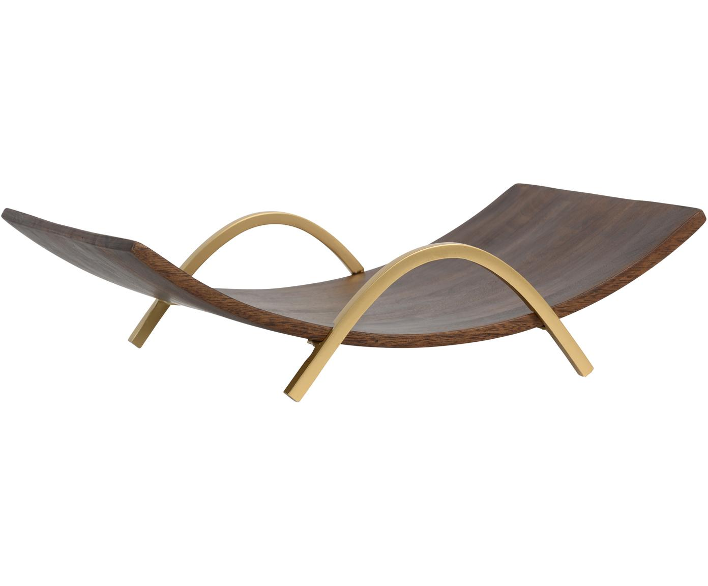 Fuente en madera de mango de diseño Expose, Madera de mango, metal, Nogal, latón, An 40 x Al 11 cm