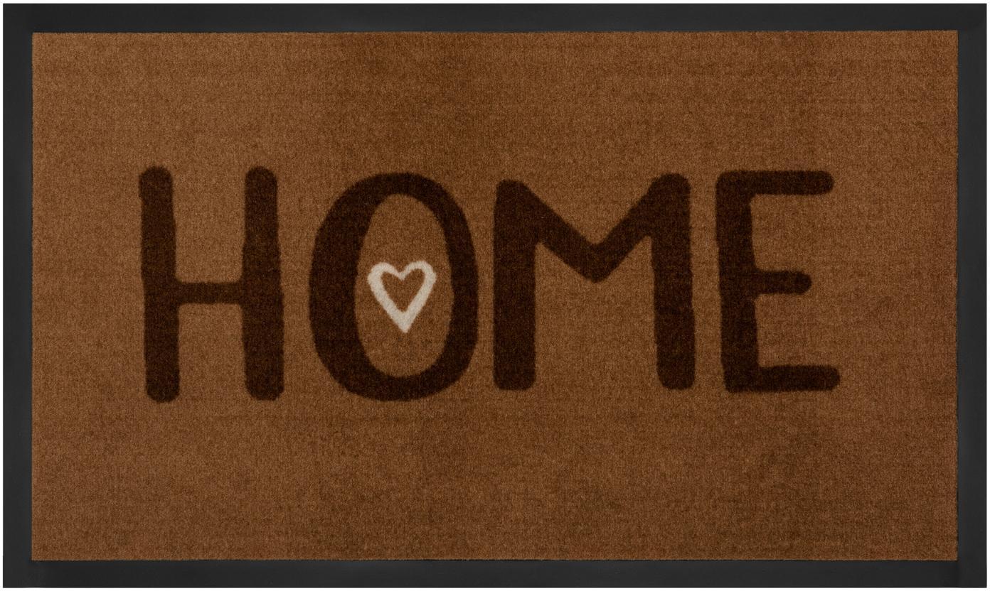 Polyamid-Fussmatte Lovely Home, Vorderseite: Polyamid, Rückseite: Gummi, Brauntöne, 45 x 75 cm