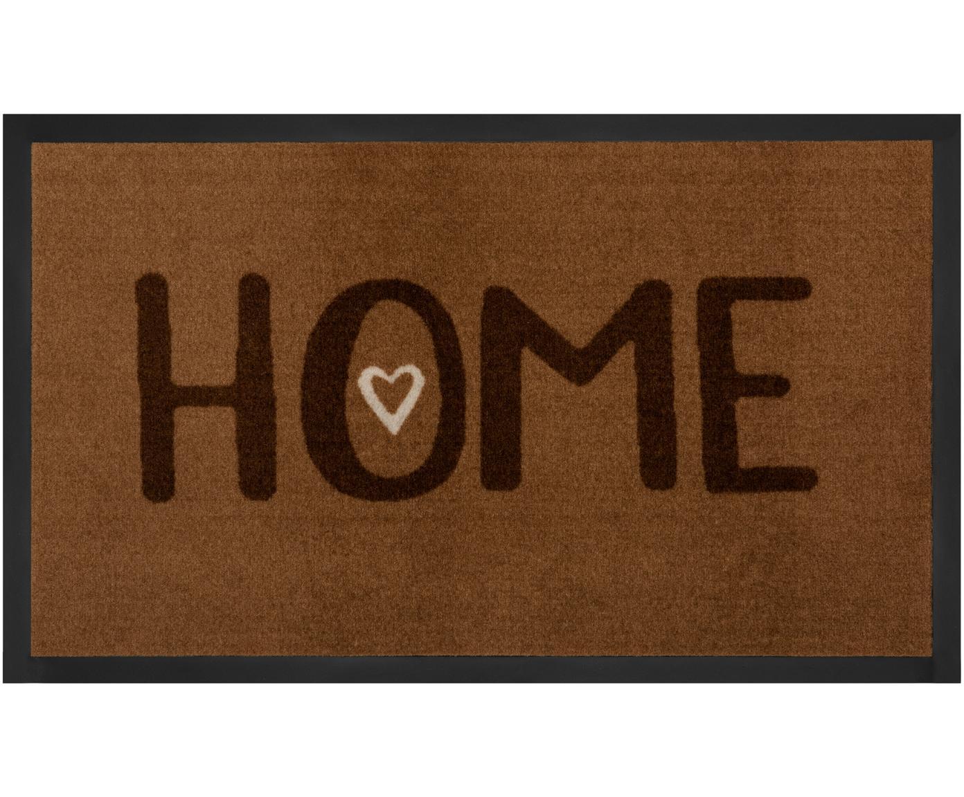 Polyamide deurmat Lovely Home, Bovenzijde: polyamide, Onderzijde: rubber, Bruintinten, 45 x 75 cm