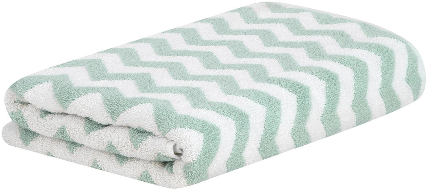 Handdoek Liv met zigzag patroon, 100% katoen, middelzware kwaliteit, 550 g/m², Mintgroen, crèmewit, Handdoek