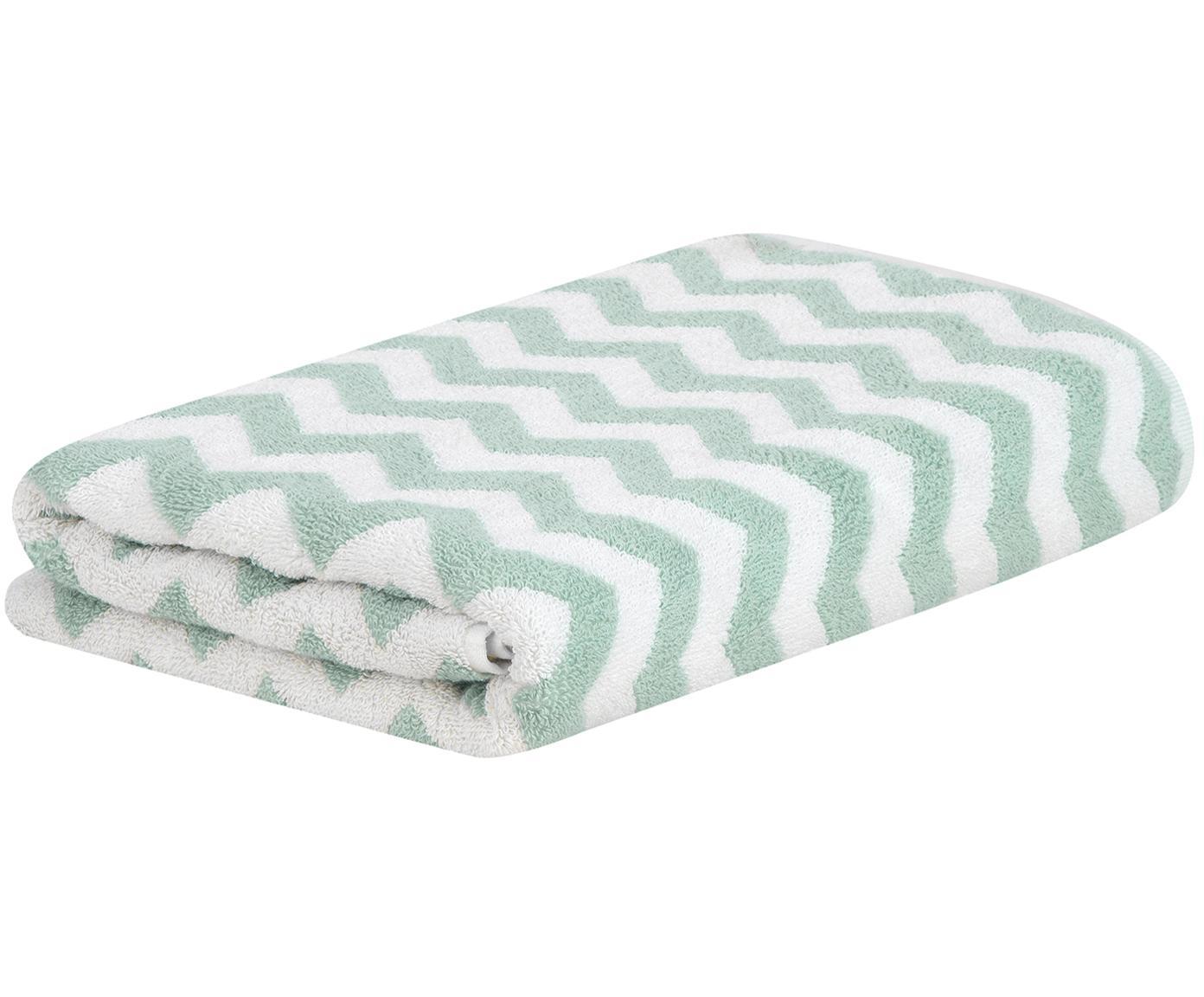 Handtuch Liv in verschiedenen Größen, mit Zickzack-Muster, Mintgrün, Handtuch