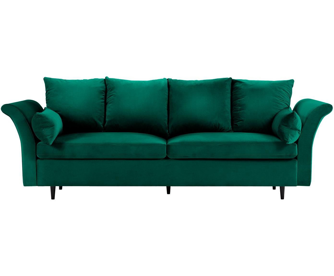 Sofa rozkładana z aksamitu Lola (3-osobowa), Tapicerka: aksamit poliestrowy, Nogi: drewno sosnowe, lakierowa, Butelkowy zielony, S 245 x G 95 cm