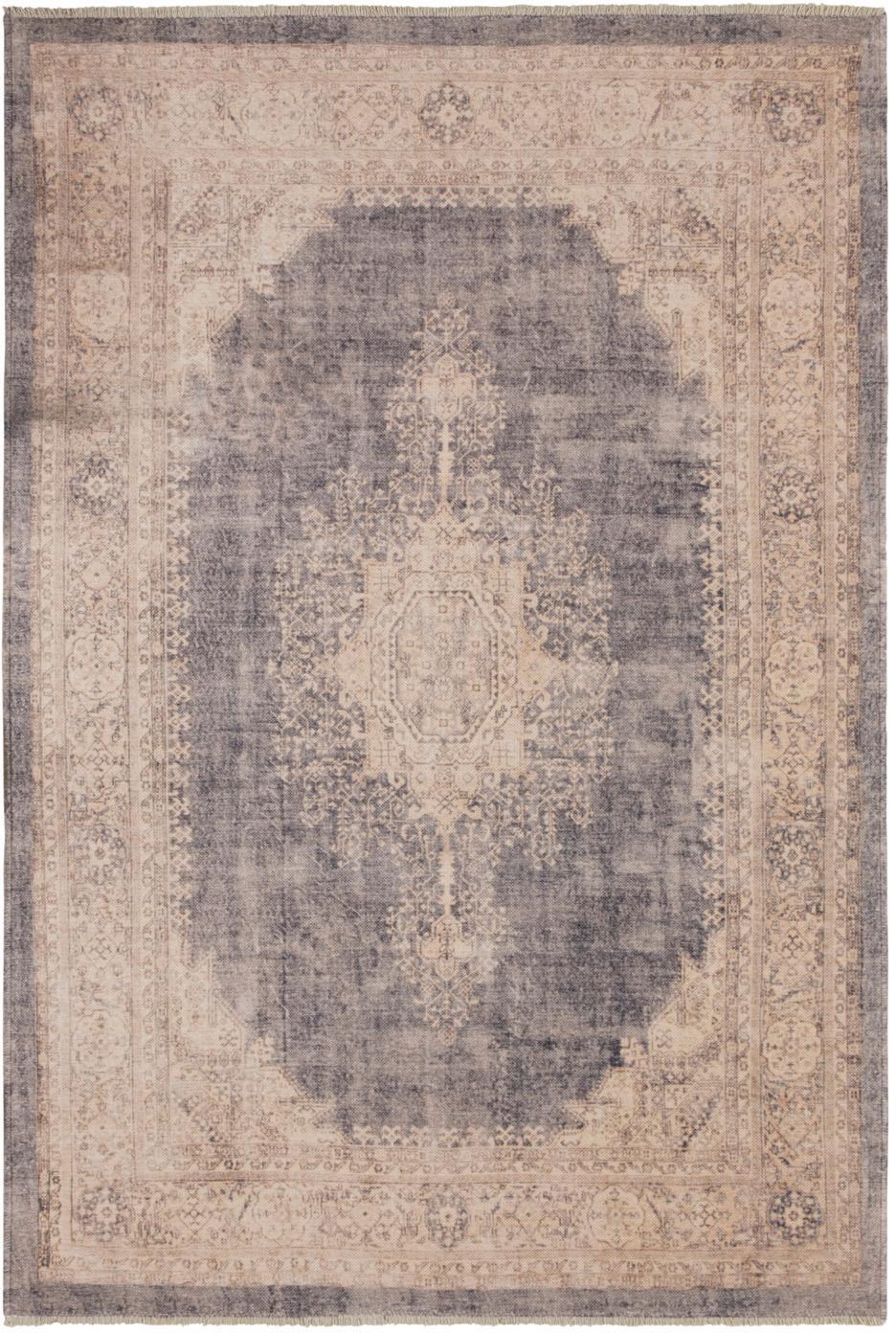 Vloerkleed Maschad Chora in vintage stijl met franjes, Polyester, Crèmekleurig, taupe, B 120 x L 170 cm (maat S)