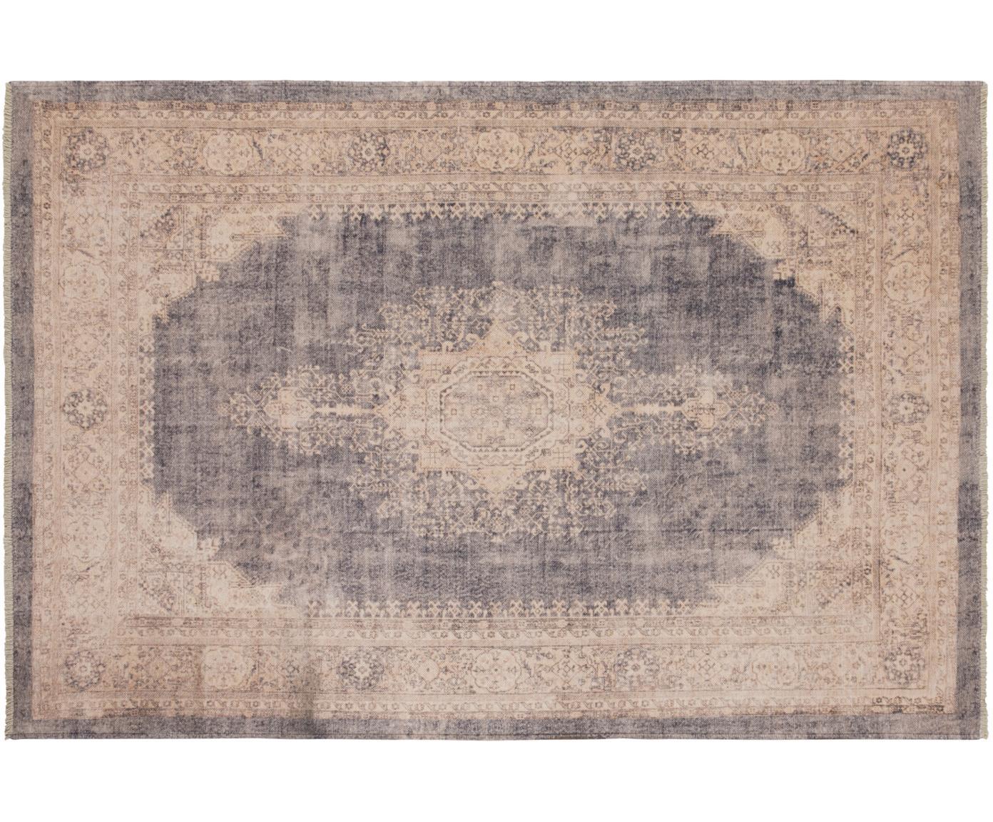 Teppich Maschad Chora im Vintage Style mit Fransen, 80% Baumwolle, 20% Polyester-Chenille, Beige, Taupe, B 120 x L 170 cm (Größe S)