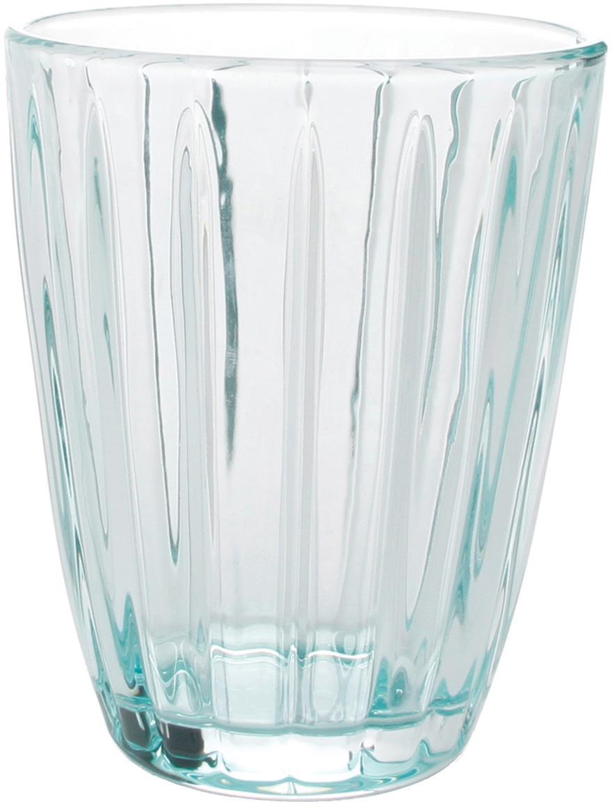 Waterglazen Zefir met reliëf, 4-delig, Glas, Blauw, transparant, Ø 8 x H 10 cm
