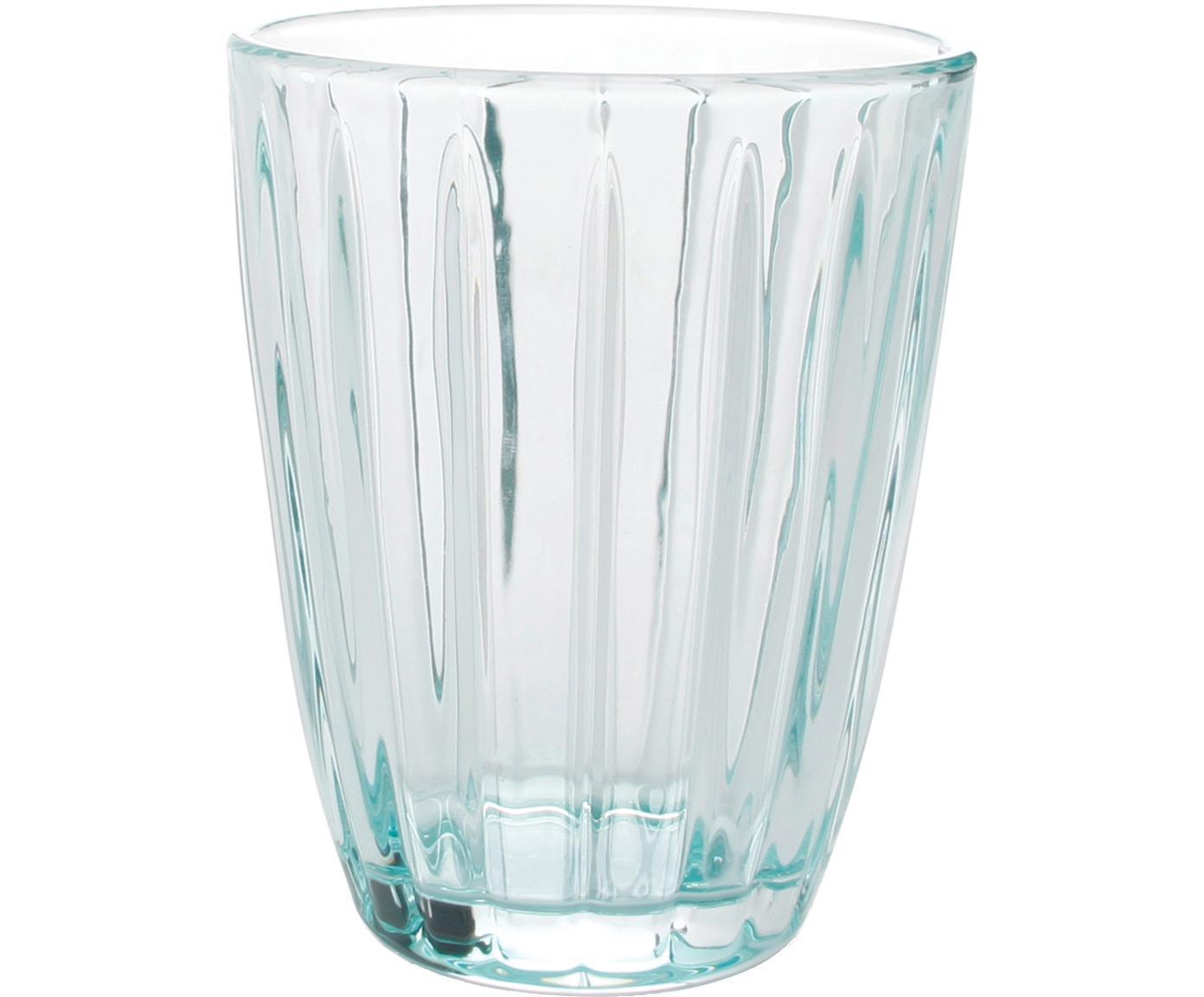Wassergläser Zefir mit Relief, 4er-Set, Glas, Blau, Ø 8 x H 10 cm