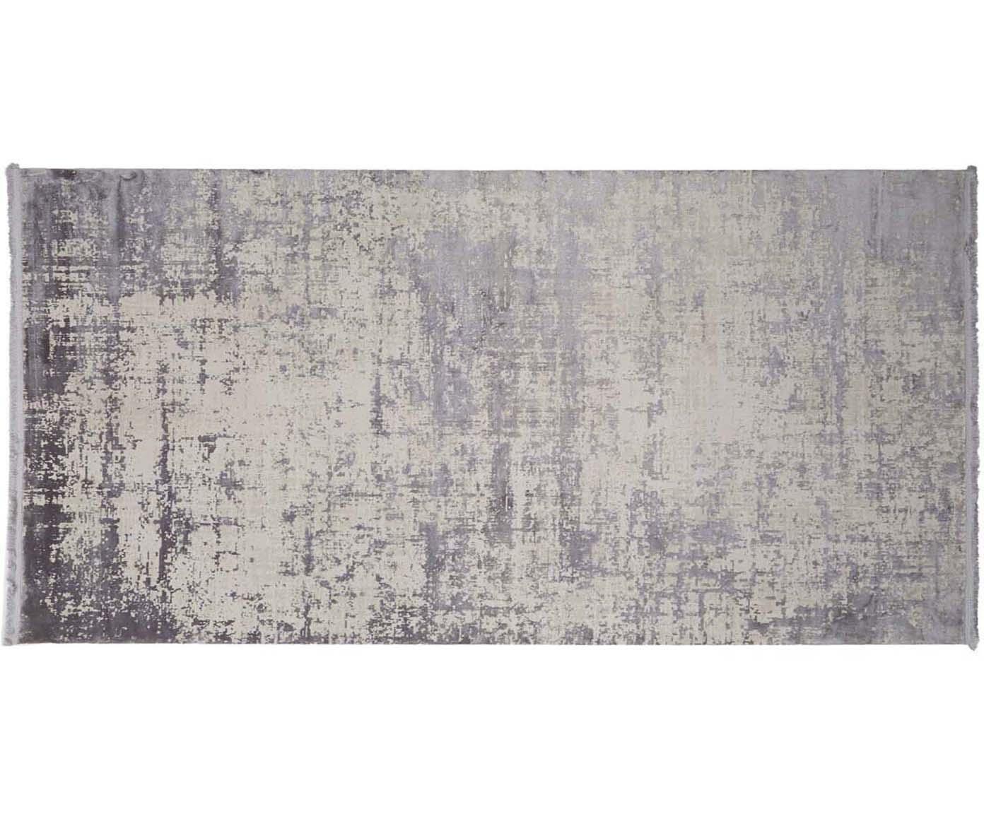 Alfombra con flecos Cordoba, estilo vintage, Parte superior: 70%acrílico, 30%viscosa, Reverso: algodón, Gris con ligero tinte violeta, An 80 x L 150 cm (Tamaño XS)