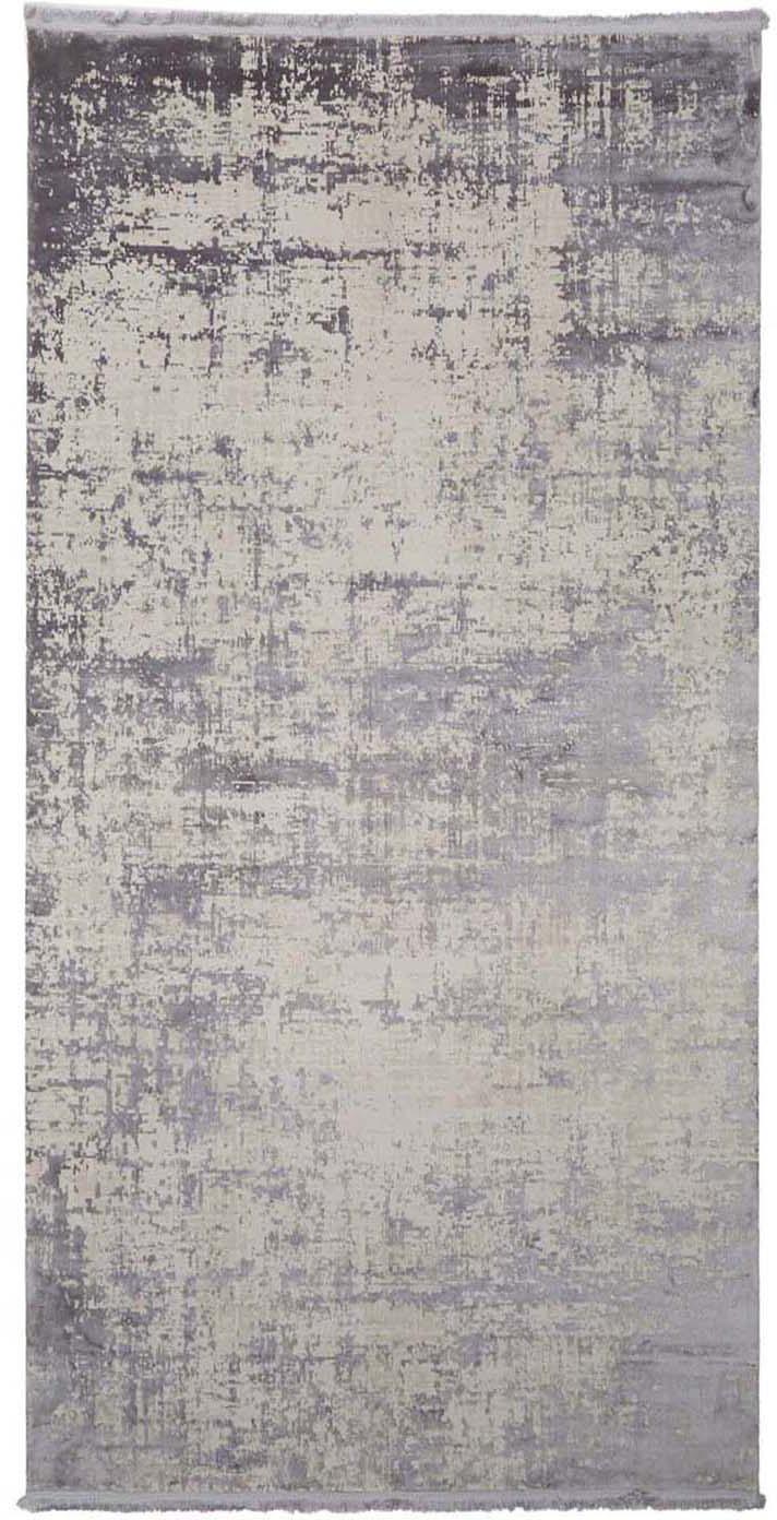 Glanzend vloerkleed Cordoba met franjes, vintage stijl, Bovenzijde: 70% acryl, 30% viscose, Onderzijde: katoen, Grijstinten met lichte lilatint, B 80 x L 150 cm (maat XS)