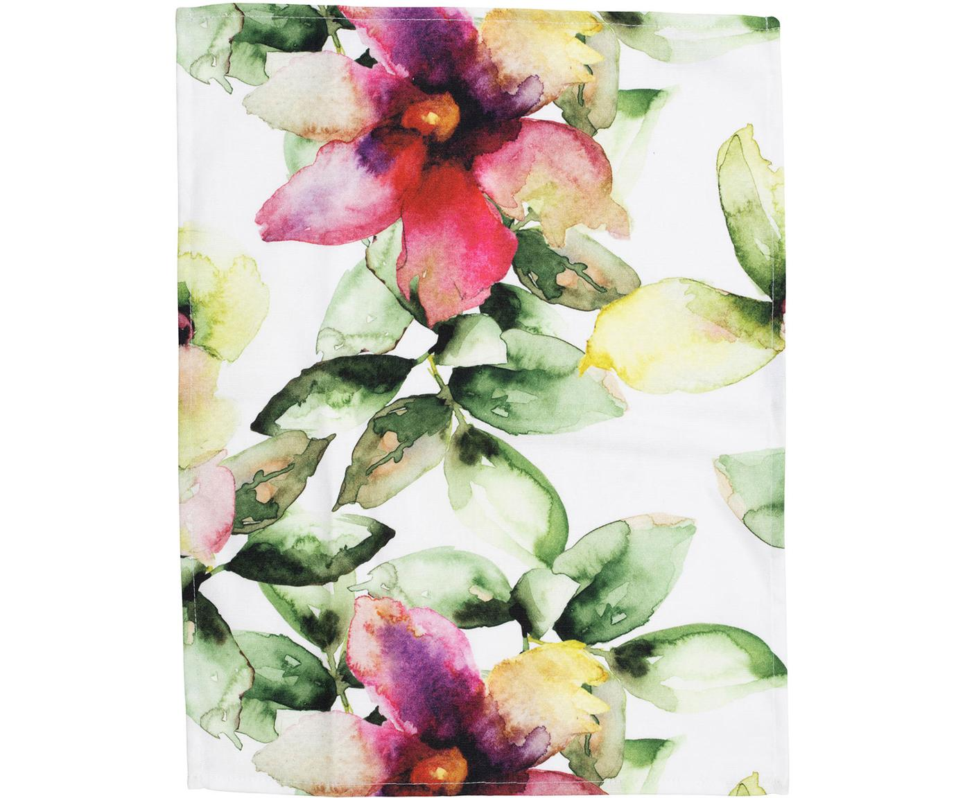 Geschirrtücher Floreale mit Aquarell Blumenprint, 2 Stück, Baumwolle, Rosa, Grün, 50 x 70 cm
