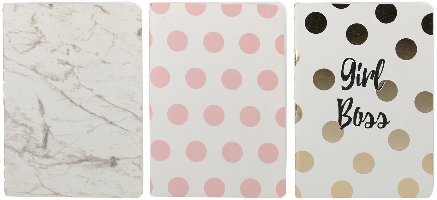 Notizbücher-Set Marica, 3-tlg., Papier, Weiß, Rosa, Goldfarben, B 11 x T 15 cm