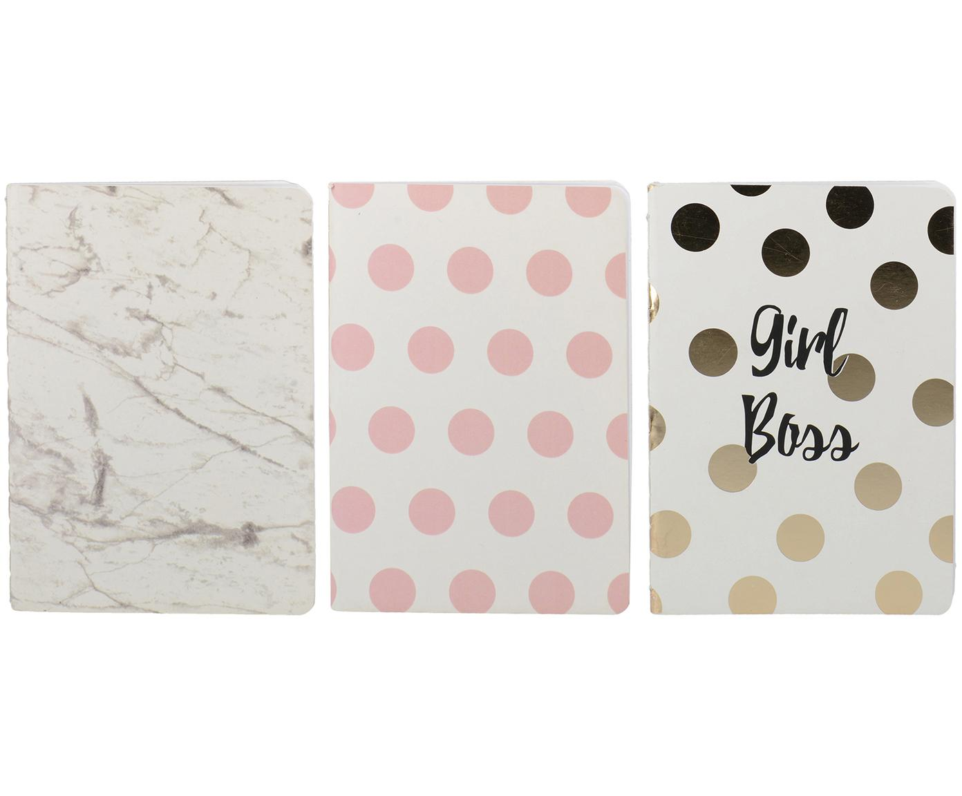 Set 3 quaderni Marica, Carta, Bianco, rosa, dorato, Larg. 11 x Lung. 15 cm
