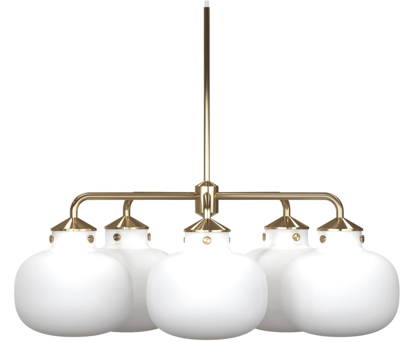 Lámpara de techo Raito, Vidrio opalino, metal, Blanco opalino, latón, Ø 67 x Al 55 cm