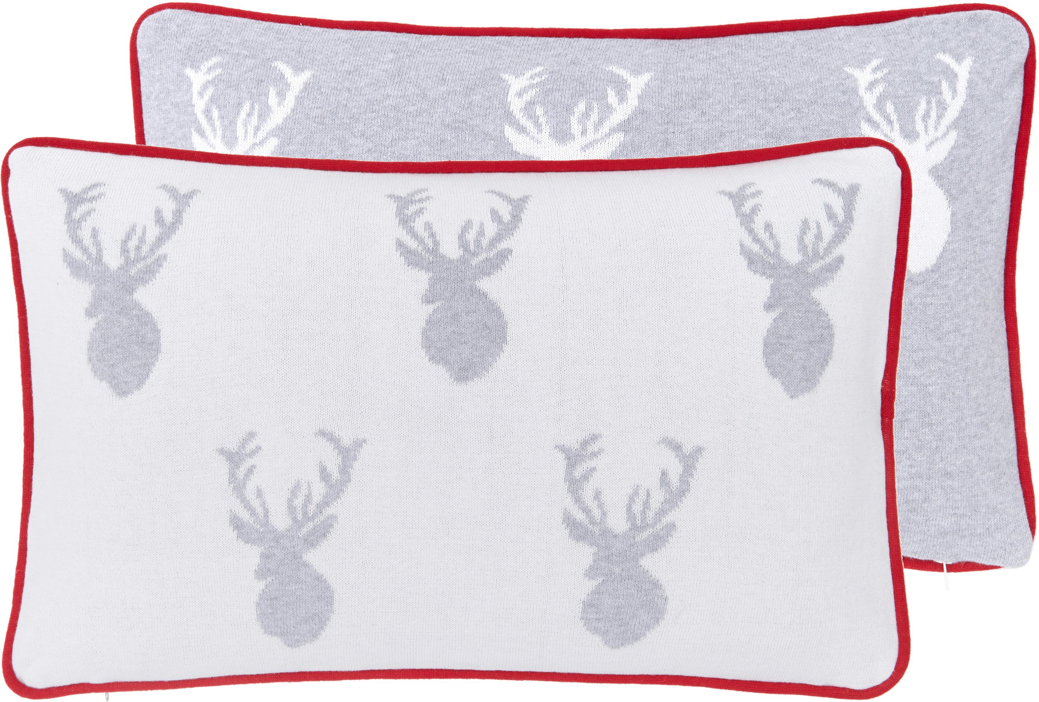 Federa reversibile fatta a maglia fine Foresta, 100% cotone, Bianco crema, grigio chiaro Bordino: rosso, Larg. 30 x Lung. 50 cm